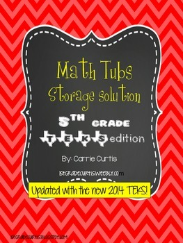 5th grade MATH TEKS  Red Organization Labels *updated!