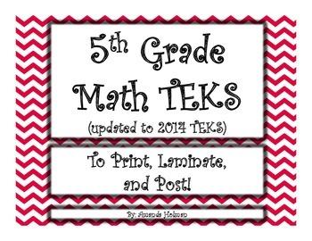 5th grade Math '14-'15 TEKS on slides to print and post!