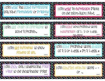 """5th grade Math CCGPS """"I Can"""" statement cards polka dot"""