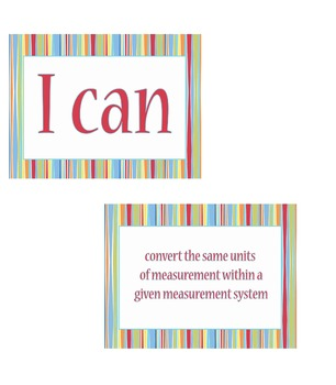 """5th grade """"I Can Statements"""" Math Standard Posters"""