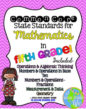 5th grade Math Common Core Standards Posters BUNDLE