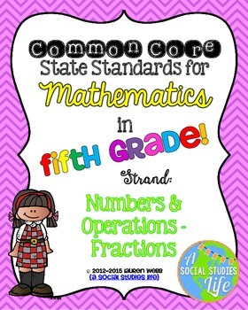 5th grade Math Common Core Standards Posters Numbers and Operations Fractions