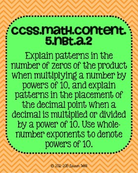 5th grade Math Common Core Standards Posters Numbers and Operations in Base Ten
