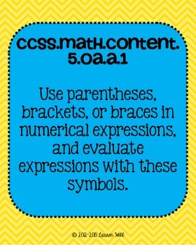 5th grade Math Common Core Standards Posters Operations and Algebraic Thinking