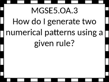 5th grade Math Essential Questions for GSE with a black and white border