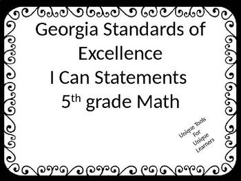 5th grade Math GSE I Can Statements  with Black Ornate border