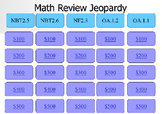 5th grade Math Jeopardy Powerpoint game NBT.2.5 NBT.2.6 NF