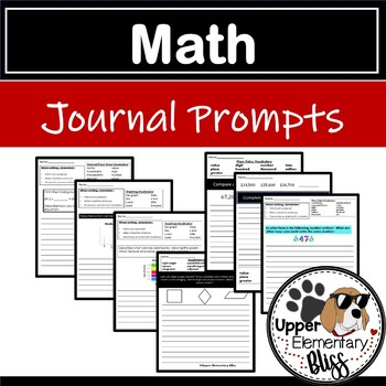 5th grade Math Journal Prompts