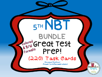 5th grade Math NBT Task Card Test Prep BUNDLE
