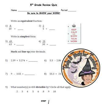5th grade Math Review QUIZ for beginning of 6th grade Math Test Assessment KEY