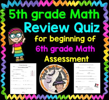 5th grade Math Review QUIZ for beginning of 6th grade Math Test Assessment KEY