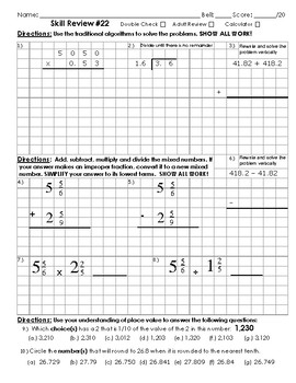 5th grade Math Cumulative Skill Review 22