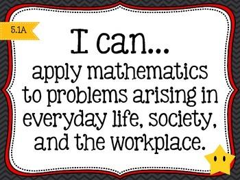 5th grade *New* Math TEKS Posters {black chevron w/colorful frames}