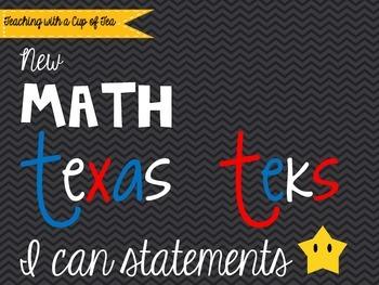 5th grade *New* Math TEKS Posters {black chevron w/colorfu