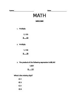 5th grade Math assessment NBT.2.5 NBT.2.6 NF.2.3 with partial products