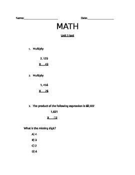5th grade Math assessment NBT.2.5 NBT.2.6 NF.2.3 with part