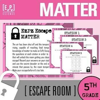 5th grade Matter Science Escape Room