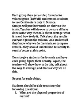 5th grade Matter Unit