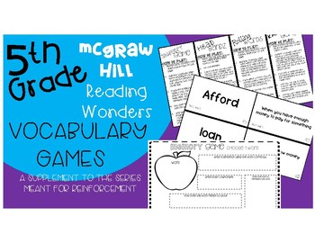5th grade McGraw Hill Reading Wonders Series Vocabulary Games