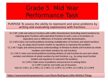 5th grade Mid Year Performance task 2015 version