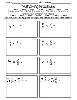 5th grade multiplying fraction quiz by hall classroom tpt. Black Bedroom Furniture Sets. Home Design Ideas