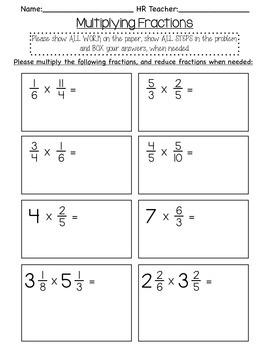 5th grade Multiplying Fraction Quiz