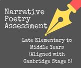 5th grade Narrative Poetry Assessment