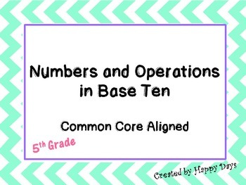 5th grade Numbers and Operations in Base Ten