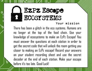 5th grade Organisms and Ecosystems Science Escape Room