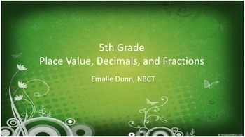 5th grade Place Value, Decimal to Fraction, and Fraction to Decimal Bingo