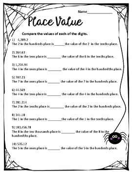 5th grade Place value Worksheets