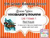 5th grade Reading Street: Unit 1 week 1: Red Kayak Vocabulary