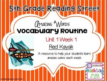 5th grade Reading Street: Unit 1 week 1: Red Kayak Vocabulary