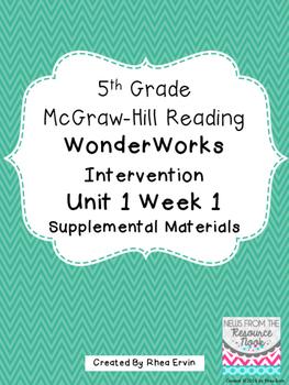 5th grade Reading WonderWorks Supplement- Unit 1 Week 1