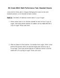 5th grade SBAC Math Performance Task: Baseball Snacks