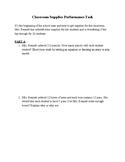 5th grade SBAC Math Performance Task: Classroom Supplies