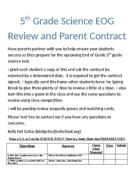5th grade Science EOG Review and Parent Contract