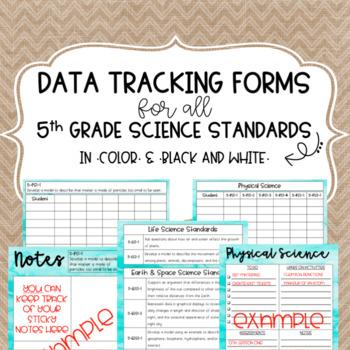 5th grade Science Standards Data Forms (Teacher Data Binder)