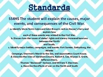 Civil War Task Cards SS5H1:  5th grade Georgia Social Studies
