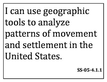 5th grade Social Studies I can statements for Kentucky Core Content