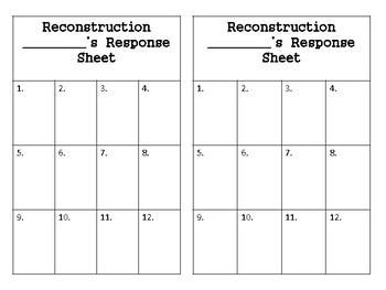 Reconstruction Task Cards SS5H2:  5th grade Georgia Social Studies
