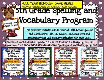 5th grade Spelling and Vocabulary Program-  FULL YEAR BUNDLE