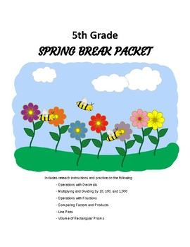5th grade Spring Break Packet / Reteach Packet