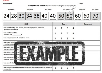 5th grade Student Reading Goal Sheet-DRA