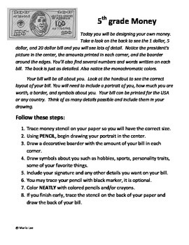 5th grade Art Sub Plan: Designing Money