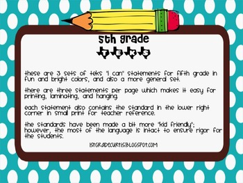 "5th grade TEKS "" I can"" statements: Science Edition"