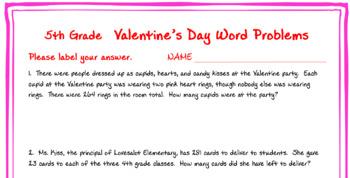 5th grade Valentine Math Word Problems