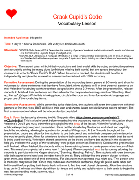 5th grade Vocabulary Lesson Plan (Valentine's Day/Crack Cupid's Code)