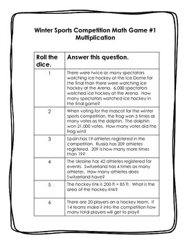 5th grade: Winter Sports Dice Games: Multiplication Division Word Problems