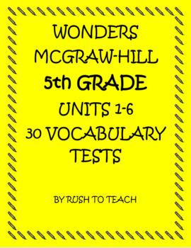 5th grade Wonders Vocabulary Units 1-6 Bundle